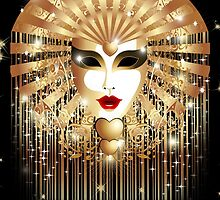 Golden Venice Carnival Mask  by BluedarkArt