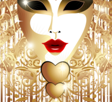 Golden Venice Carnival Mask  Sticker