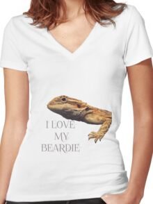 i LOVE MY BEARDIE Women's Fitted V-Neck T-Shirt
