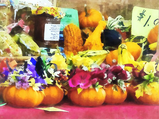 Mini Pumpkins and Gourds at Farmer's Market by Susan Savad