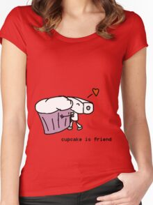 cupcake is friend Women's Fitted Scoop T-Shirt