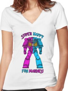 SUPER FUN MARINES. Women's Fitted V-Neck T-Shirt
