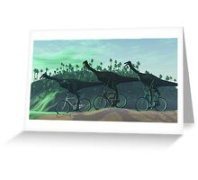 Gallimimus On Bikes Greeting Card