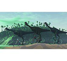 Gallimimus On Bikes Photographic Print