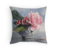 Blue Sky and Roses Throw Pillow