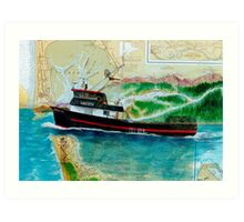 Holly H Crab Fish Boat Cathy Peek Nautical Map Art Print
