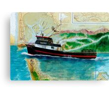 Holly H Crab Fish Boat Cathy Peek Nautical Map Canvas Print