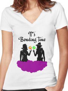 It's Bonding Time! Women's Fitted V-Neck T-Shirt