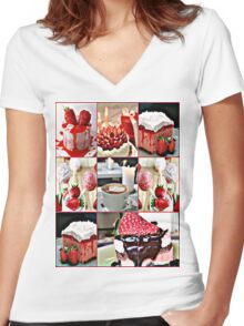 strawberry field Women's Fitted V-Neck T-Shirt