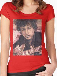 BOB DYLAN PORTRAIT IN INK Women's Fitted Scoop T-Shirt
