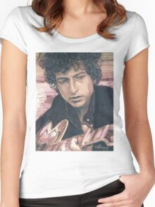 BOB DYLAN PORTRAIT IN INK Women's Fitted Scoop T-Shirt