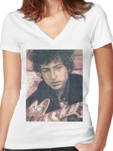 BOB DYLAN PORTRAIT IN INK Women's Fitted V-Neck T-Shirt