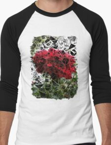 Red Rose with Light 1 Letters 4 Men's Baseball ¾ T-Shirt
