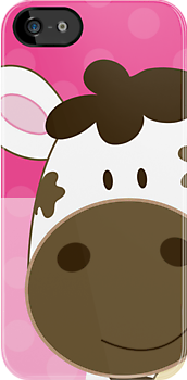 Happy Cow iPhone Case - Pink dot by JessDesigns