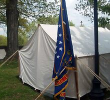 Civil War Officers Tent, Rhode Island Regiment Flag by Jane Neill-Hancock