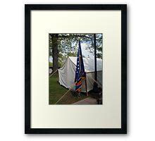 Civil War Officers Tent, Rhode Island Regiment Flag Framed Print