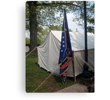 Civil War Officers Tent, Rhode Island Regiment Flag Canvas Print