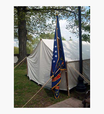 Civil War Officers Tent, Rhode Island Regiment Flag Photographic Print