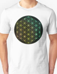 Flower of Life - Yellow to Green T-Shirt