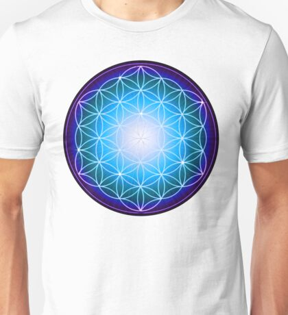 Starburst Blue Flower of Life Unisex T-Shirt