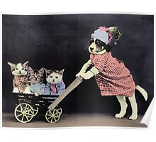 Mother Dog with Kittens in Cart Poster