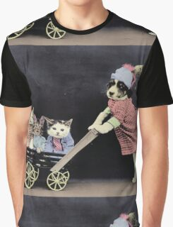 Mother Dog with Kittens in Cart Graphic T-Shirt