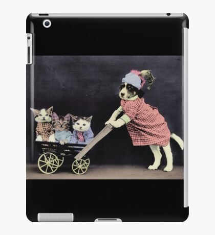 Mother Dog with Kittens in Cart iPad Case/Skin