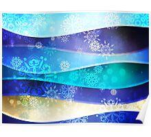 Blue Background with Snowflakes 6 Poster