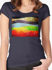 Colorful Background with Snowflakes Women's Fitted Scoop T-Shirt