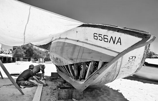 Boat Repair - Tunisa by Alan Robert Cooke
