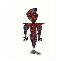 orange flying robot art print desing comic funny monster Art Print