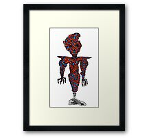 orange flying robot art print desing comic funny monster Framed Print
