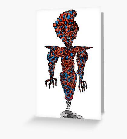 orange flying robot art print desing comic funny monster Greeting Card