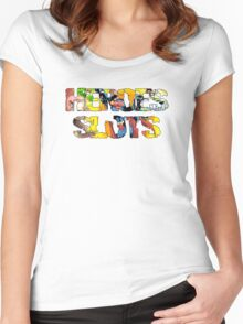 Super Heroes Slot Design Women's Fitted Scoop T-Shirt