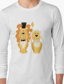 Lion and Lionness Wedding Couple Bride and Groom Long Sleeve T-Shirt