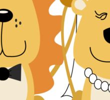 Lion and Lionness Wedding Couple Bride and Groom Sticker