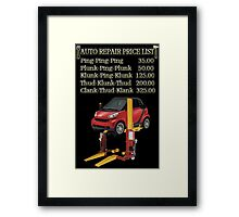 ☝ ☞ $ AUTO REPAIR PRICE LIST PICTURE/CARD $☝ ☞ Framed Print