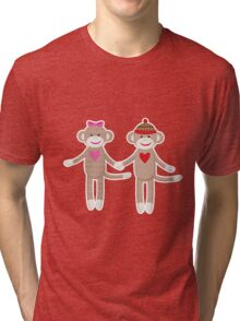 Sock Monkey Wedding Couple Tri-blend T-Shirt