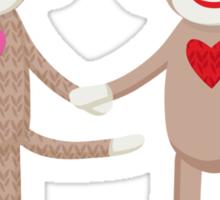 Sock Monkey Wedding Couple Sticker