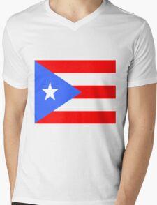 Flag of Puerto Rico Mens V-Neck T-Shirt
