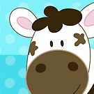 Happy Cow iPhone Case - Aqua dot by JessDesigns