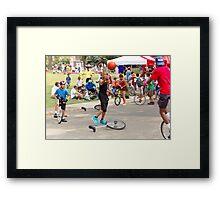 Unicyclist - Basketball - Street rules  Framed Print