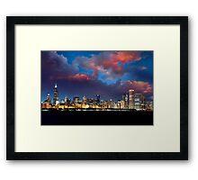 Chicago Skyline Sunset Framed Print