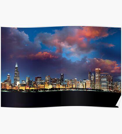Chicago Skyline Sunset Poster