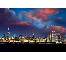 Chicago Skyline Sunset Photographic Print