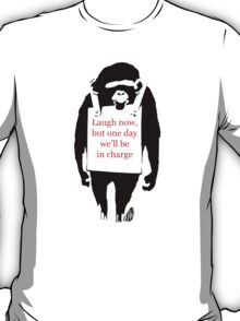 Banksy Laugh Now Monkey Sandwich Board Mens T-Shirt