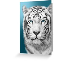 White Tiger in Blue Greeting Card