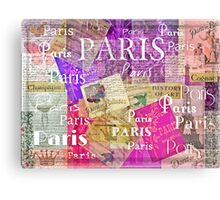 Paris French Vintage Retro France theme art  Canvas Print