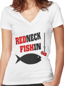 Redneck Fishin Women's Fitted V-Neck T-Shirt