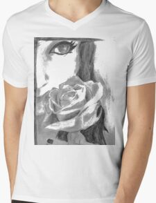 Girl with a rose Mens V-Neck T-Shirt